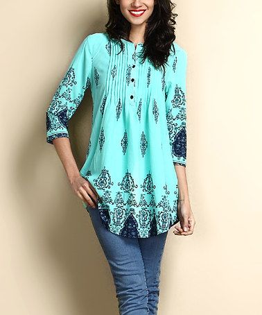 1d6625a1414 Look what I found on #zulily! Turquoise Damask Chiffon Notch Neck Pin Tuck  Tunic #zulilyfinds