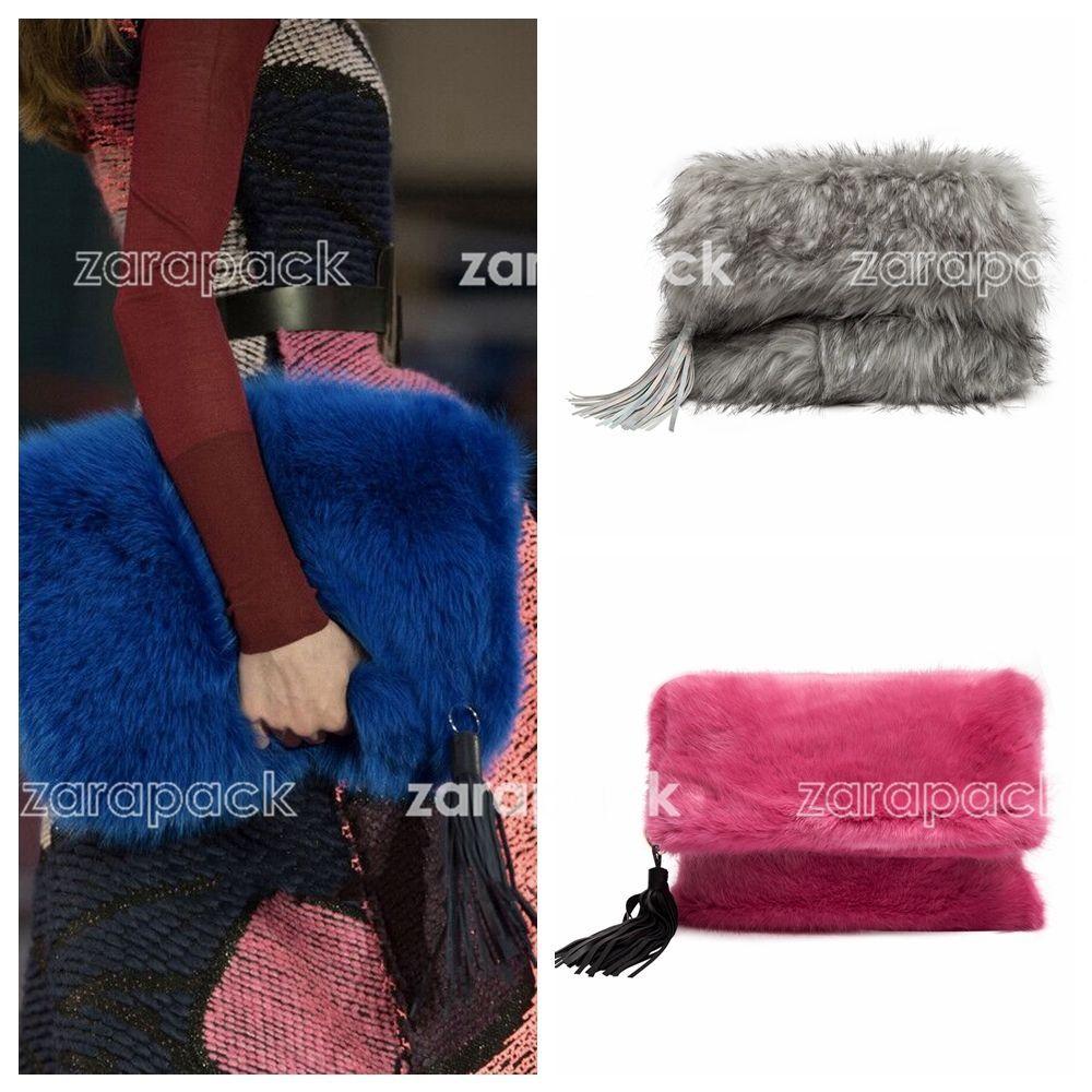 Luxury Oversize Fold Over Faux Fur Clutch with Tassel Designer Runway style  Women ladies Large handbag Evening party bag Bolsa  fc566ce704ae9