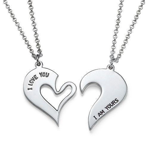Wear one half and give the other half to the person who owns your heart with the Couples Heart Necklaces in Sterling Silver.