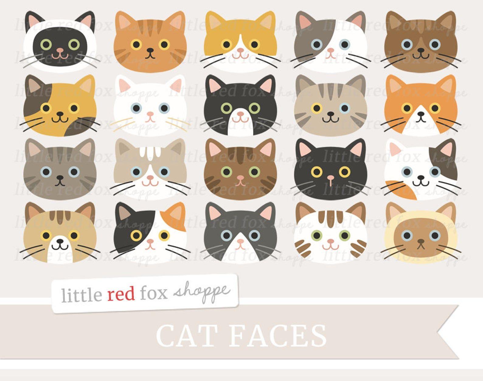 Cat Face Clipart Cat Clip Art Kitty Clipart Kitten Clipart Etsy Cat Clipart Digital Graphic Design Cat Face