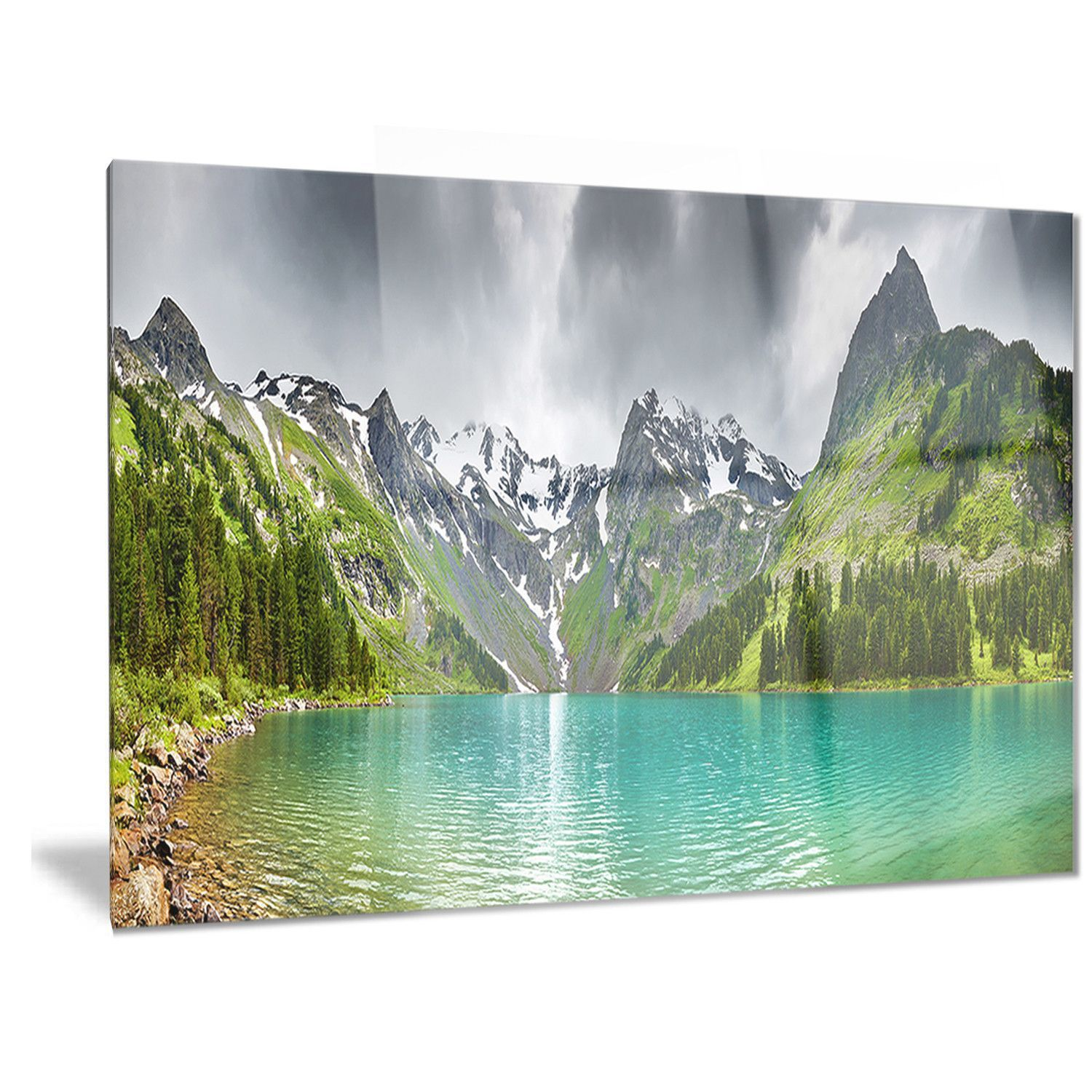GREEN MOUNTAIN LAKE PANORAMIC LANDSCAPE CANVAS PRINT PICTURE WALL ART