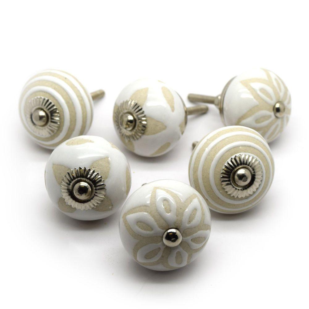 Ceramic knobs en ensembles de 6 armoire poignées de porte tiroir tire.