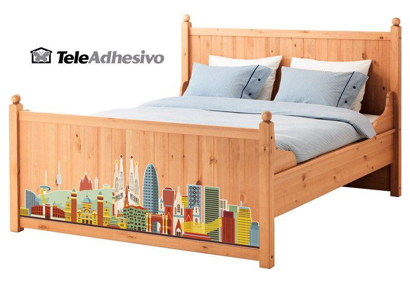 Vinilo Skyline Barcelona para cama #makea #ikea #paris #cama #barcelona #bcn #decoracion #vinilo #ideas #TeleAdhesivo
