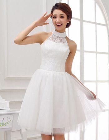 Modest High Neckline A Line Short Dresses For Wedding Reception