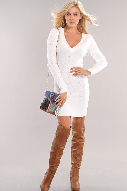 White V-Neck Long Sleeve Sexy Sweater Dress | Sexy, The outfit and ...