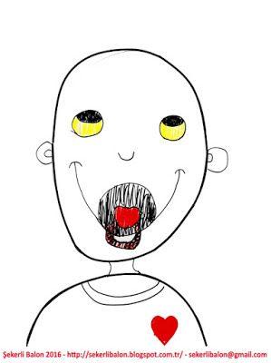 şekerli Balon Sulu Boya Boyama Sayfası Character