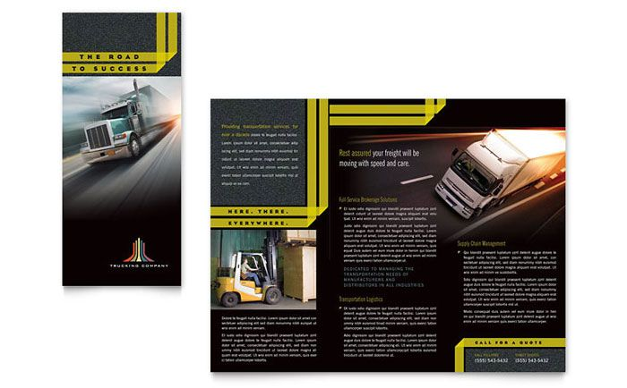Trucking And Transport Tri Fold Brochure Design Template By