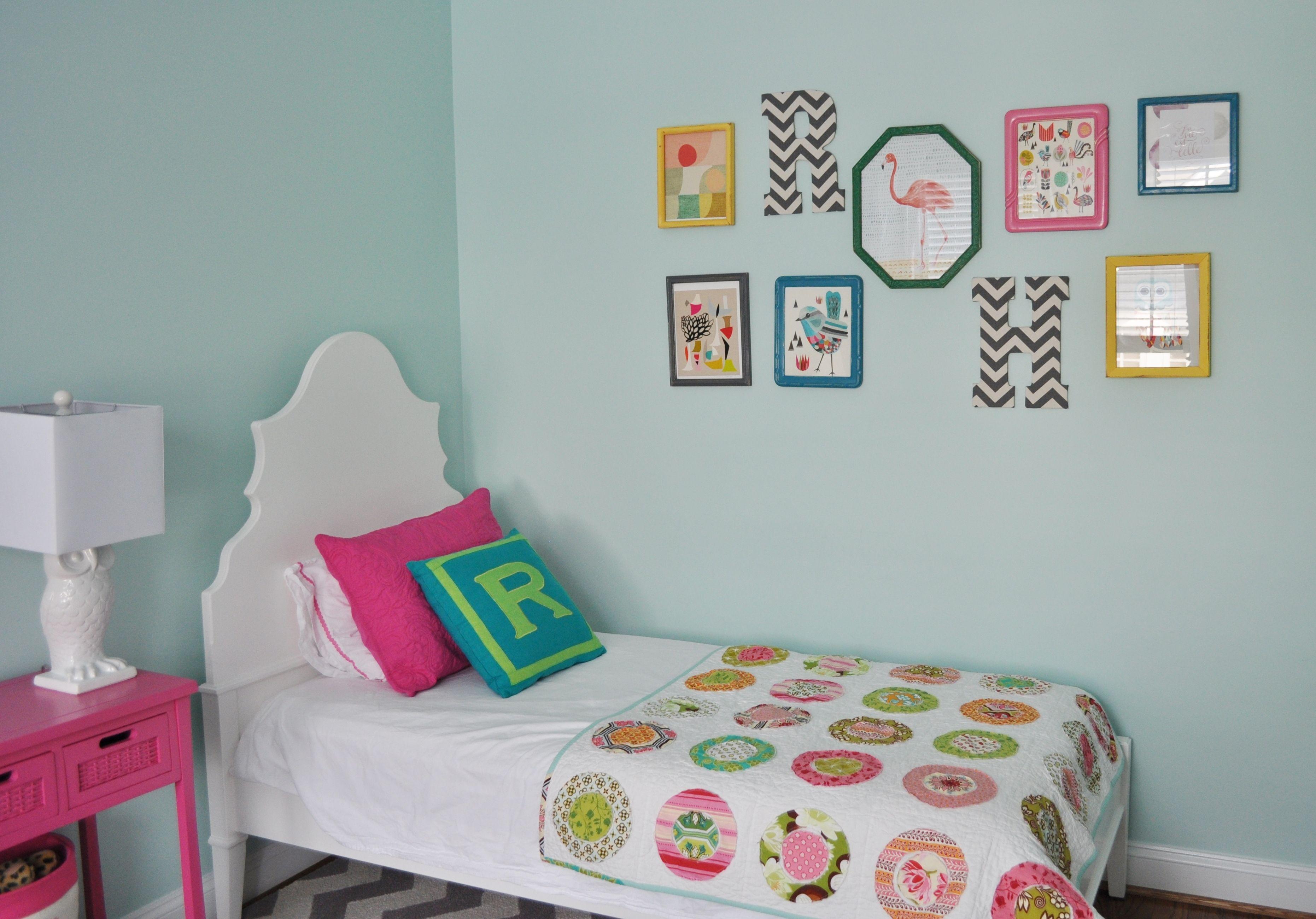 Eclectic girls bedroom wall art jwsinteriors girls room