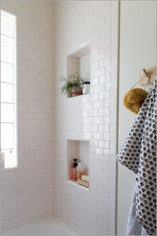 I Like The Idea Of Built In Shelves Could They Possibly Be Below The Glass Level Near Eac White Subway Tile Shower Bathroom Shower Tile Recessed Shower Shelf