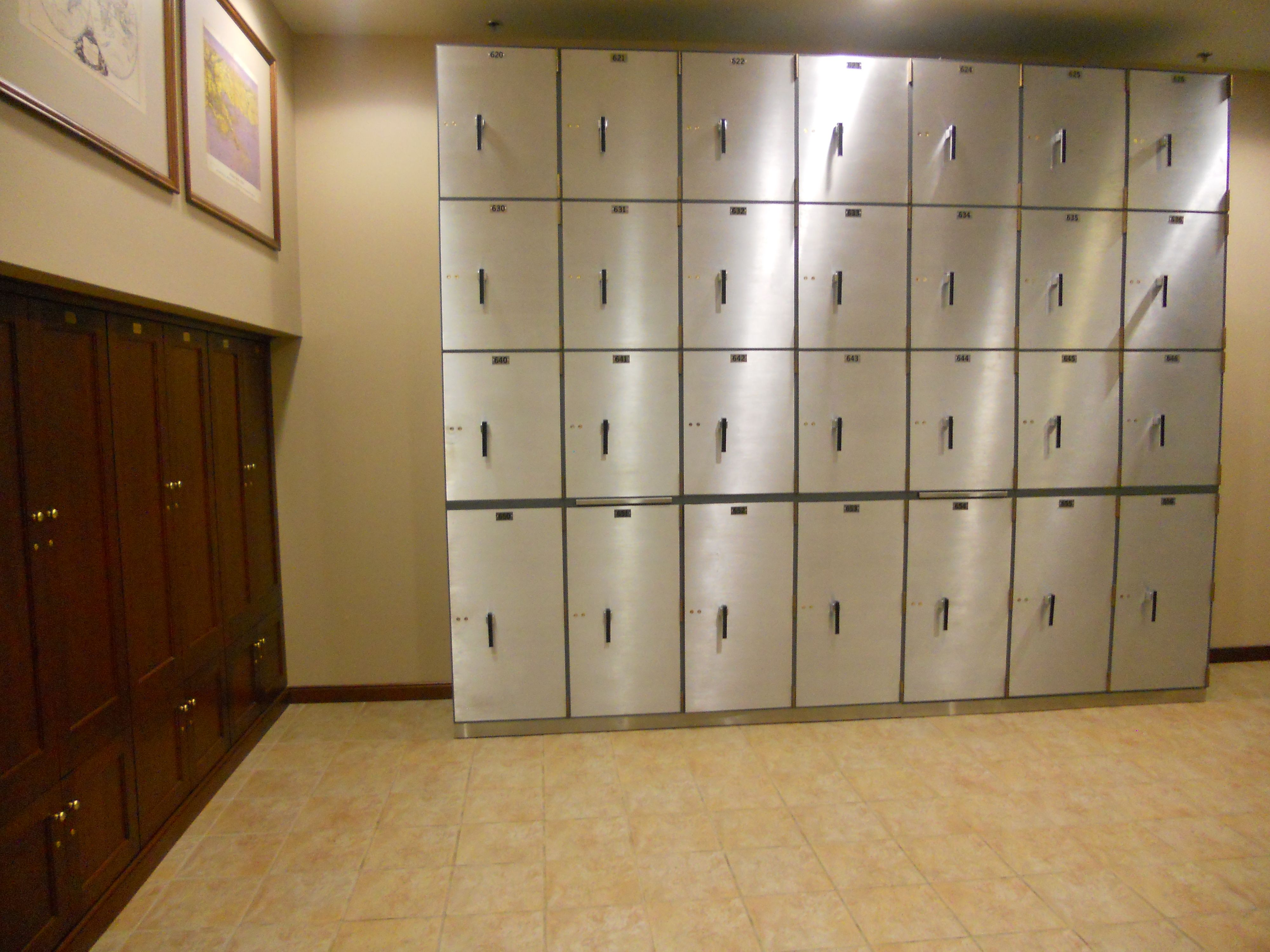 Private Bank Vault The vault includes safe deposit boxes and gun