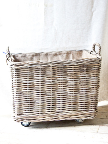 Stylish Laundry Hamper On Wheels Small Rolling Basket By And George Wicker Wicker Laundry Basket Laundry