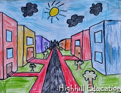 Cityscape One Point Perspective Drawings One Point Perspective Elementary Art Point Perspective