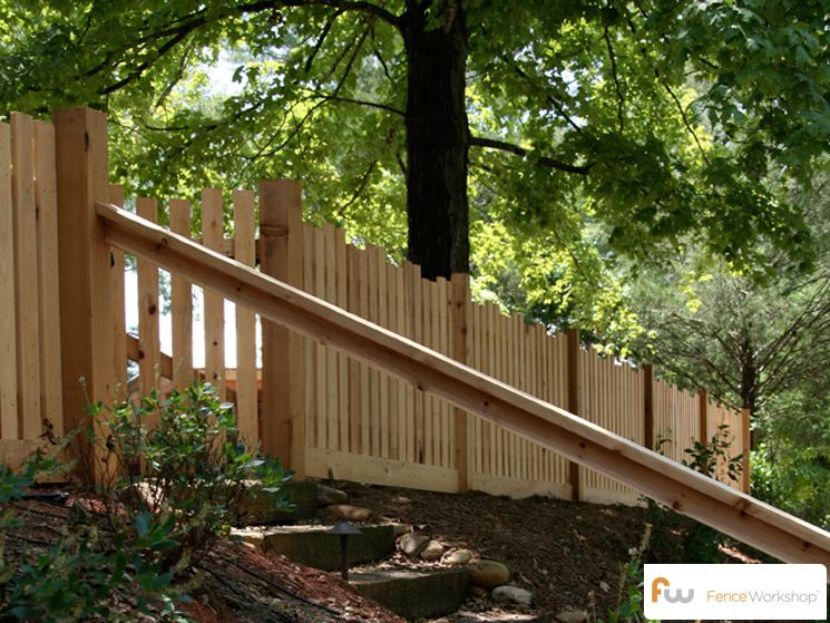 Modern Wood Picket Fence I Also Like The Steps Down The