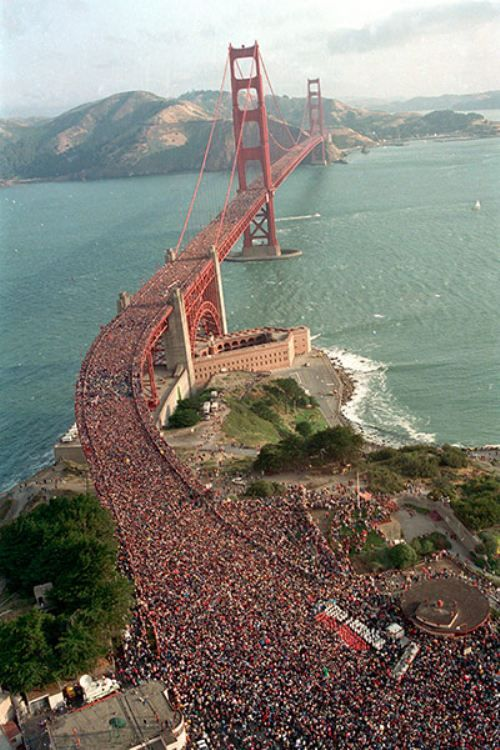 The 50th anniversary of the Golden Gate bridge in May 1986. They closed traffic and let people walk over it. There were so many people on the bridge that the middle span of the bridge flattened out.