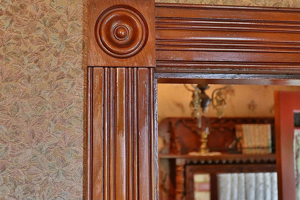 Door Trim And Corner Block From 1890 Victorian Era Home.