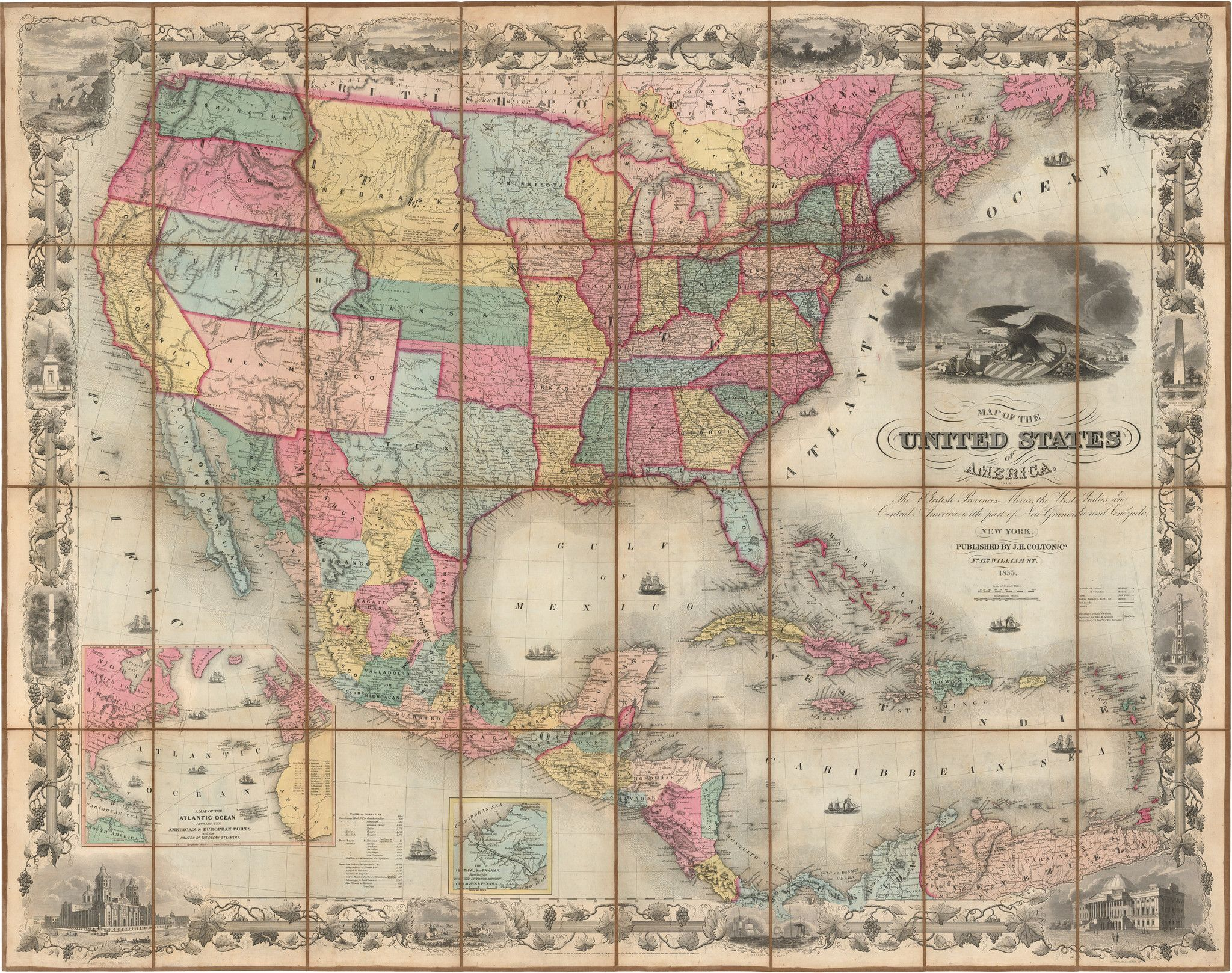 Map 9f America.1855 Colton S Map Of The United States Of America Products