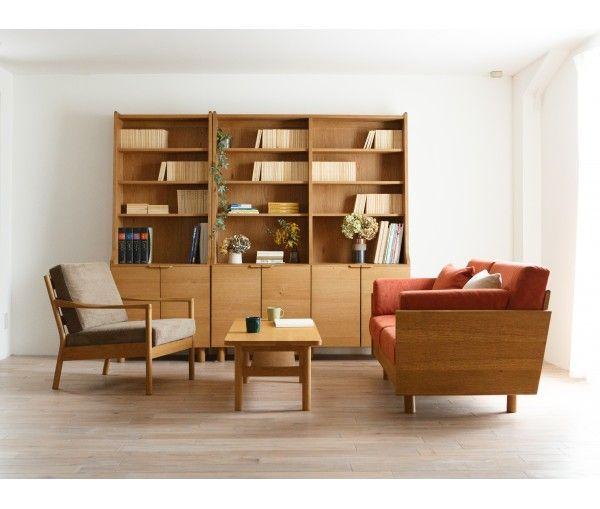 Wooden Bookshelf, Armchair, Coffee Table, Living Room, Scandinavian, Vintage