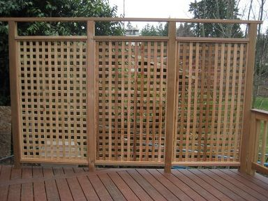 Freestanding Privacy Lattice | Solid Sided Cedar Privacy Wall With Skirted Hot  Tub Deck, And
