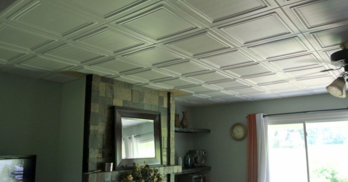 What An Easy And Relatively Inexpensive Way To Cover Up The 80 S Popcorn Ceiling No Mess Sing Just Glue We Used Caulk For Adhesive