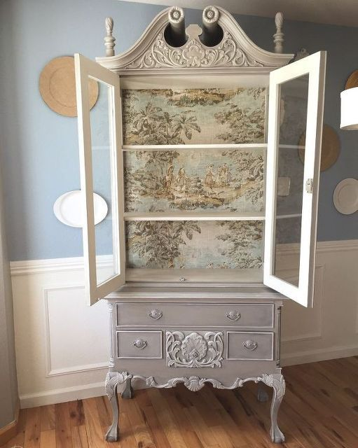 French Country Toile Hutch Painted Furniture