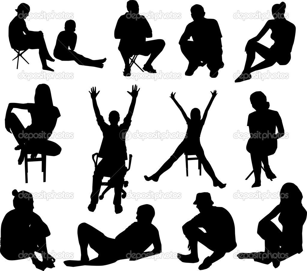 Sitting Silhouette of Business Executives | Silhouette Clip ...