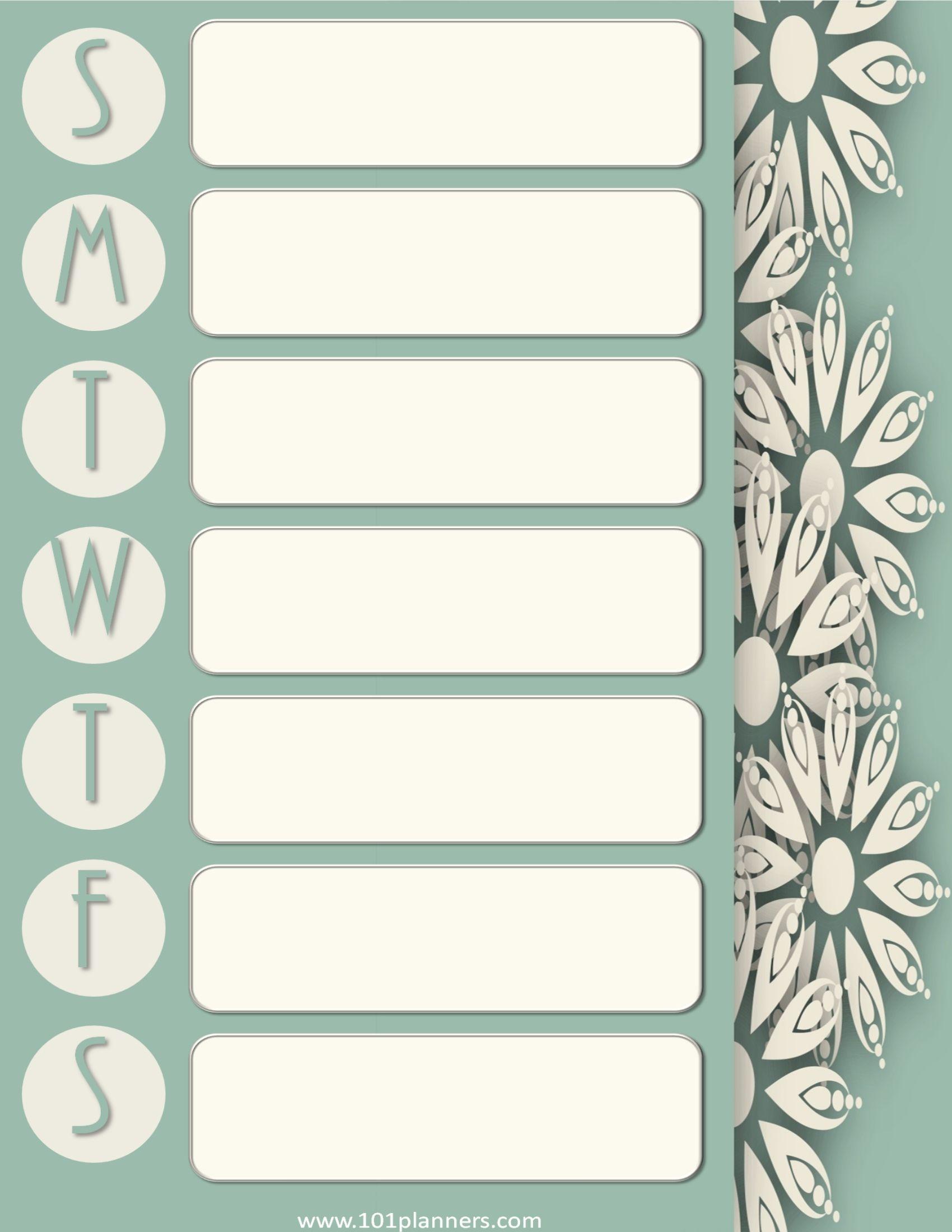 Weekly Calendar   Weekly calendar, Weekly calendar ...