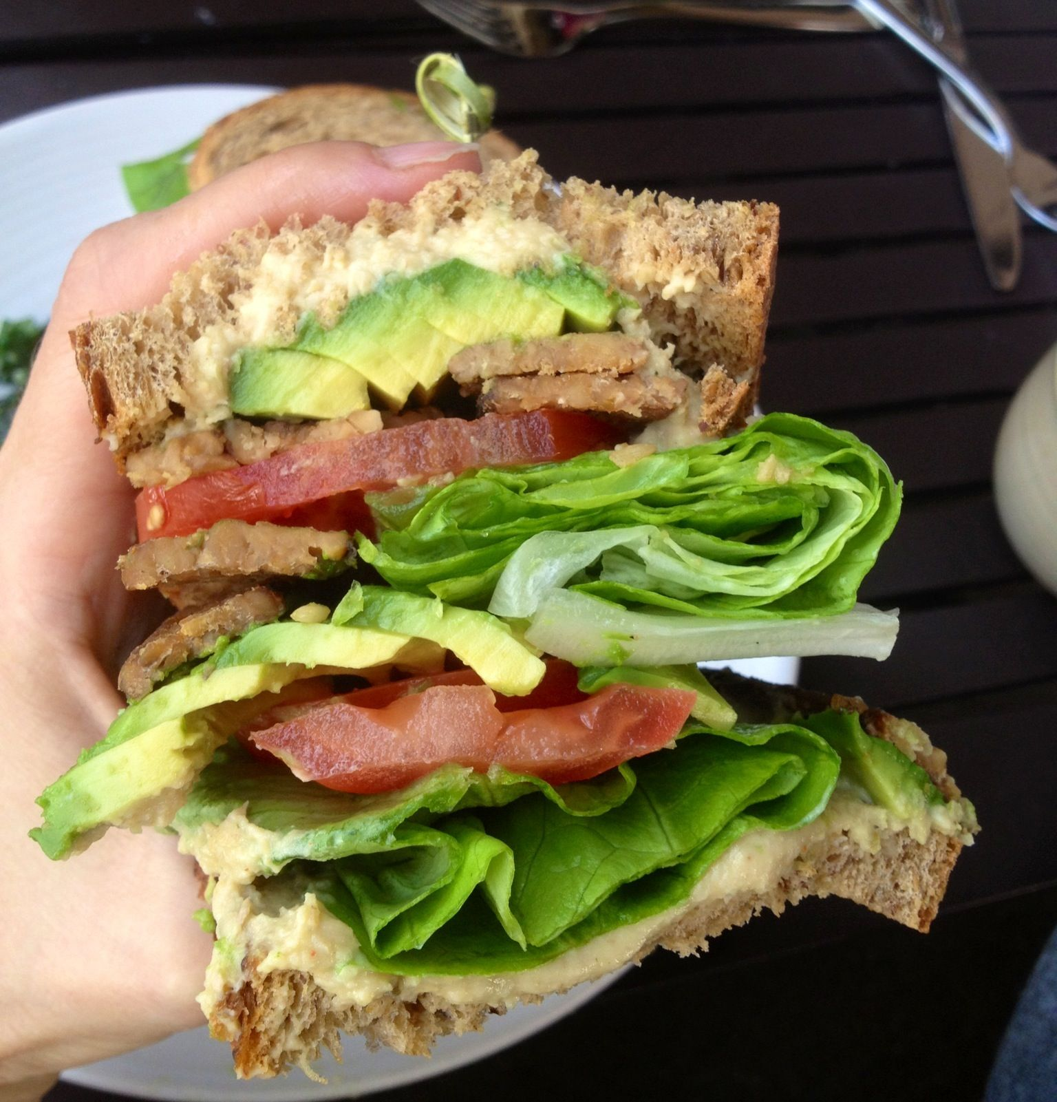 Sandwich from true food part raw avocado tomato lettuce and food forumfinder