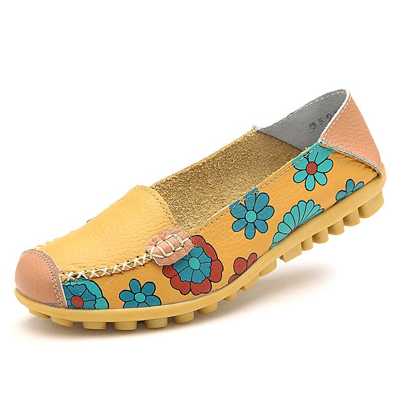 2017 Cow Muscle Ballet Summer Flower Print Women Genuine Leather Shoes  Woman Flat Flexible Nurse Peas