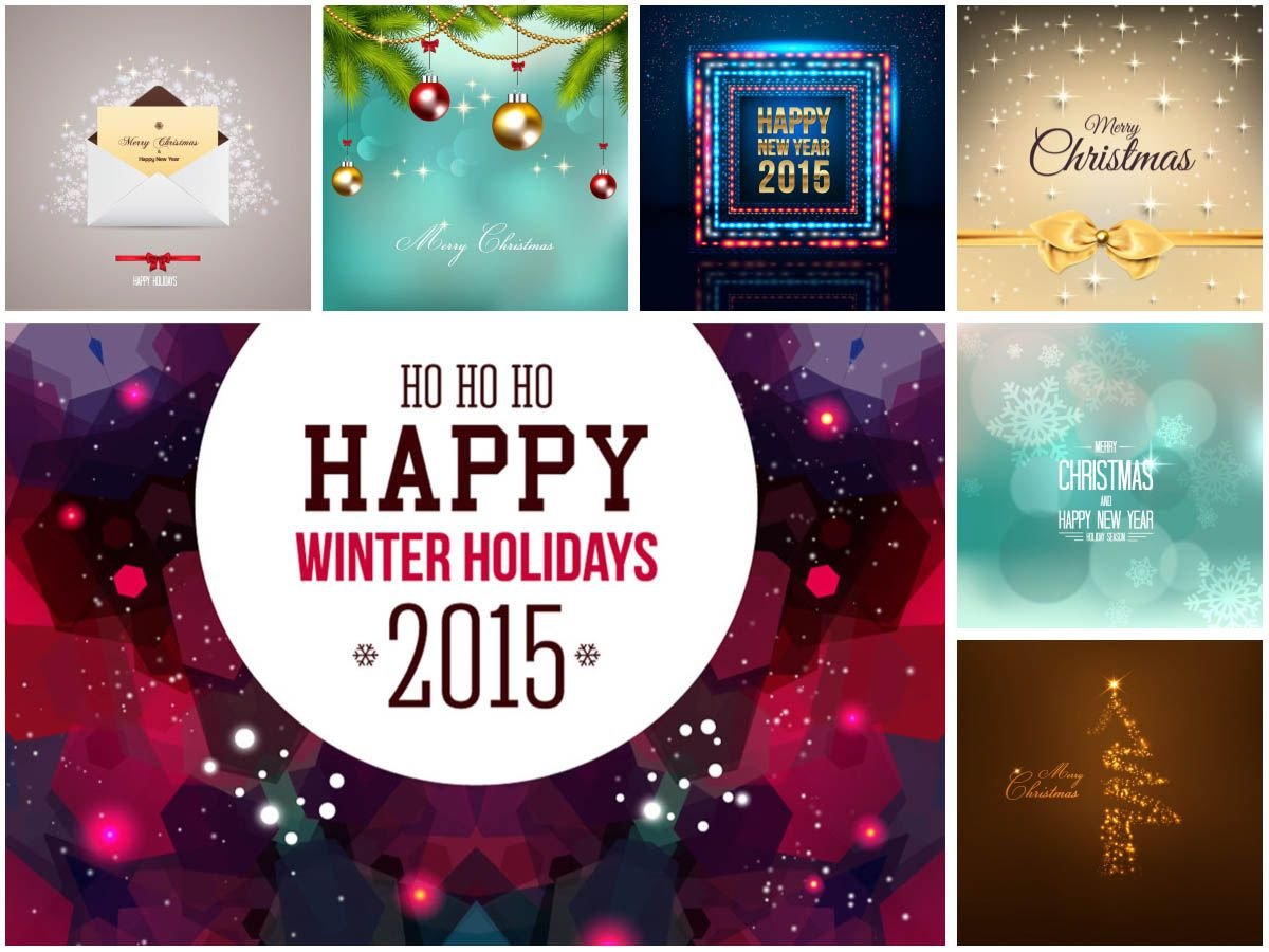 Set Of 7 Vector Christmas And 2015 New Year Backgrounds And Greeting