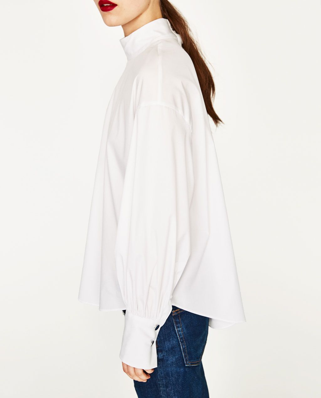 6e9a0345 POPLIN TOP WITH PLEATED SLEEVES-View All-TOPS-WOMAN | ZARA United States