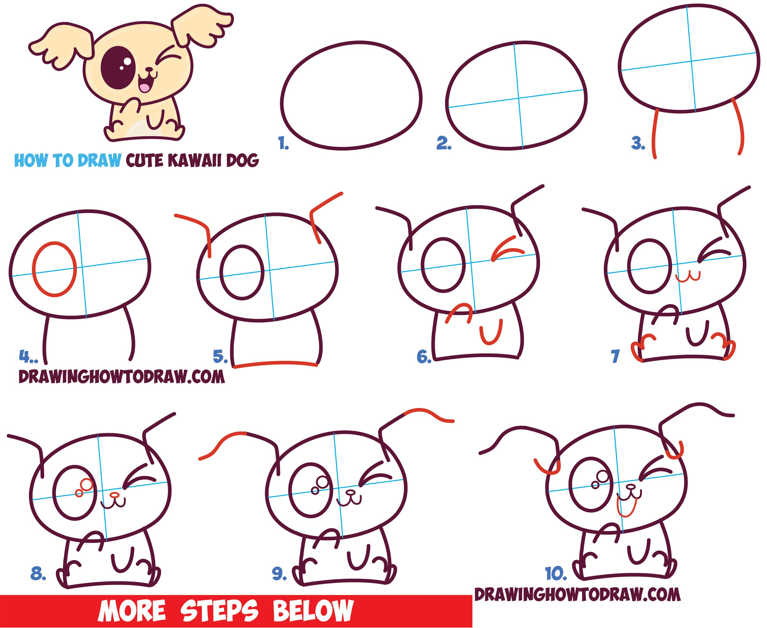 How To Draw Cute Kawaii / Chibi Puppy Dogs With Easy Step
