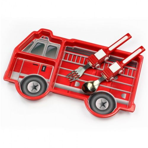 Reusable Fire Truck Plate And Utensils Tableware Set Fire Engine Fun