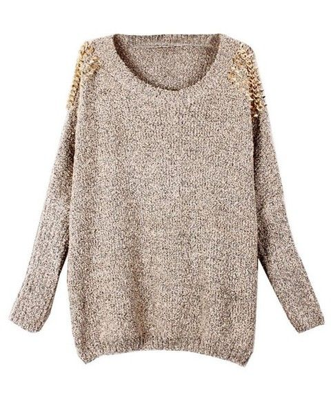 cf2e3894d Beige Batwing Sleeves Pullover With Rivets Shoulder Sweater in 2019 ...