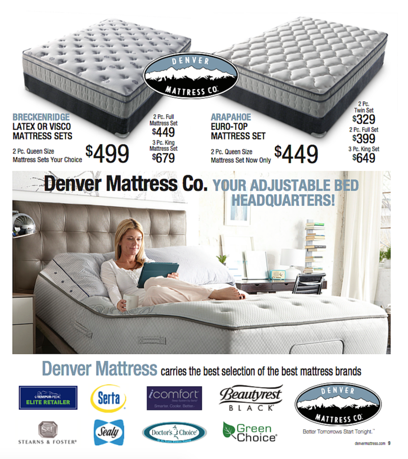 The Breckenridge And Arapahoe Adjule Mattresses From Denver Mattress Pricing Finance Offers Good Through Only