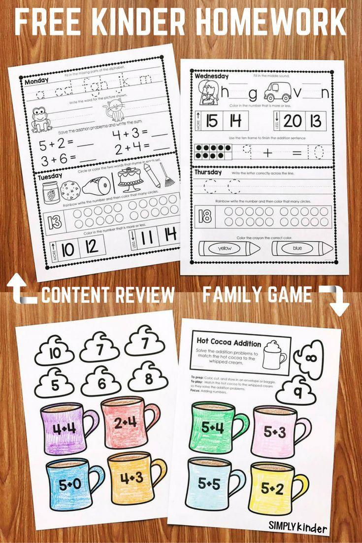 Kindergarten Calendar Folders : Free kindergarten homework