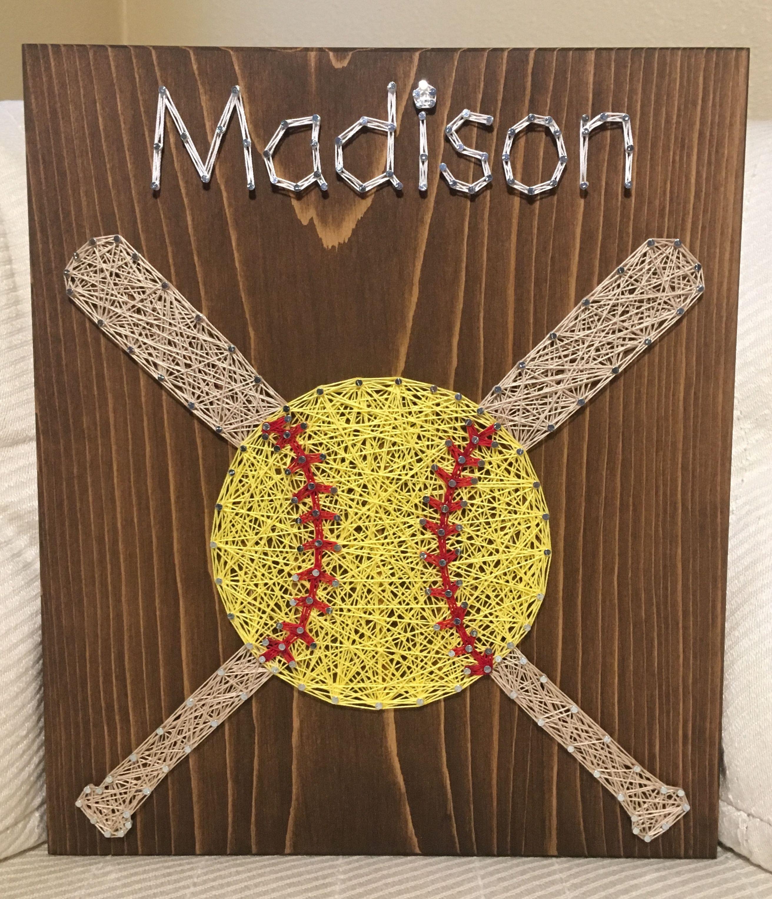 CUSTOM Softball String Art, Sports Wall Decor, Coach Gift, Athlete ...