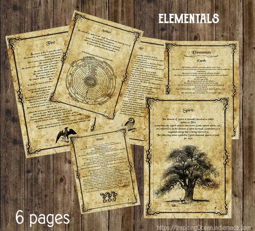 Book of Shadows pages Elementals 6 pages, .pdf file to