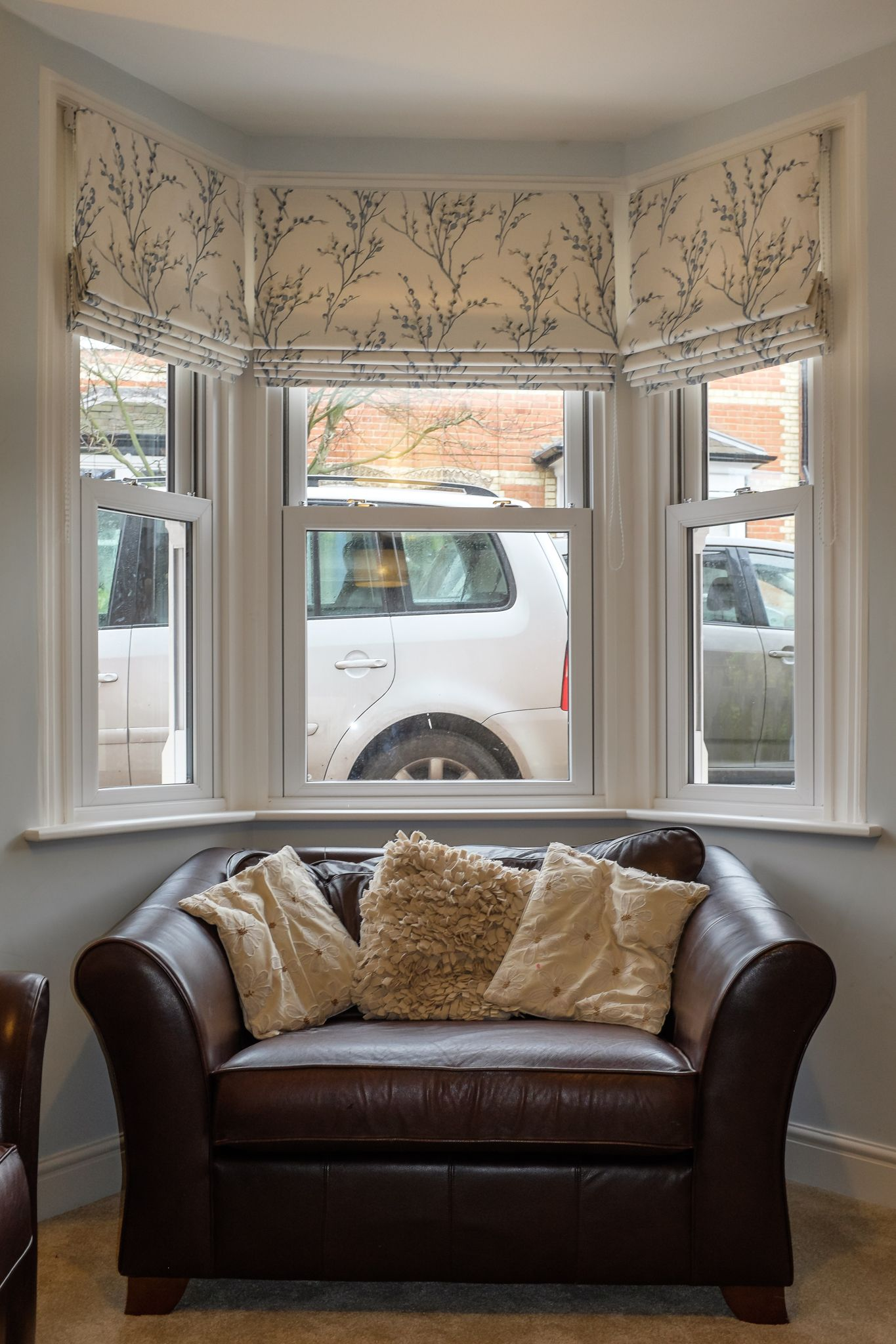 Three Roman Blinds To Dress A Bay Window The Fabric Is By Laura Ashley Willow Off White Seaspray Bespoke Sauping