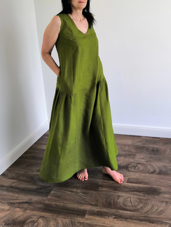 Linen Maxi Dress Oversized Linen Dress Modern Minimalitic Etsy Oversized Linen Dresses Linen Maxi Dress Maxi Dress Green