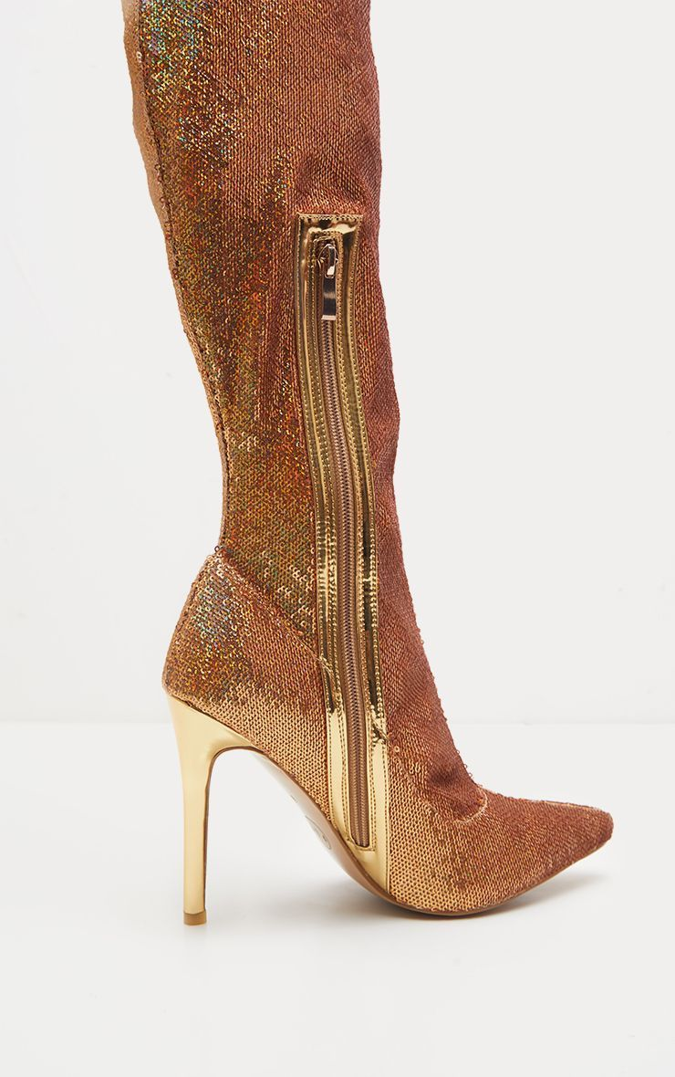 b78d5bf73f Gold Over The Knee Sequin Sock Boot   <3 <3   Boots, Shoe boots, Socks
