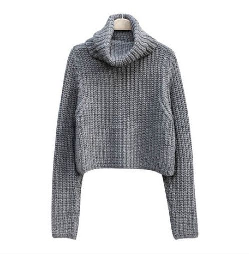 NIKKI Knitted Turtleneck Crop Sweater - Grey | Things to Wear ...