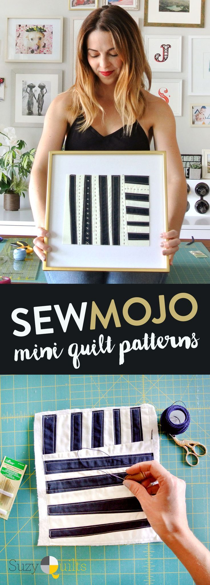 Whether you are a brand new quilter, a seasoned sewist, a textiles artist with designer's block or even a crafter looking for a fun, simple project, this Sew Mojo mini quilt series is perfect for you. The average quilter can make one of these minis in an