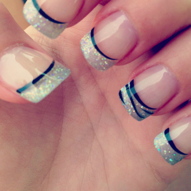 french #manicure #black #line #glittler #metallic #nail #ideas #mani ...