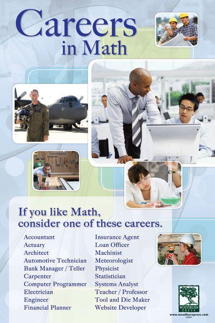 Math Careers Poster Math Classroom Posters Math Poster Stem