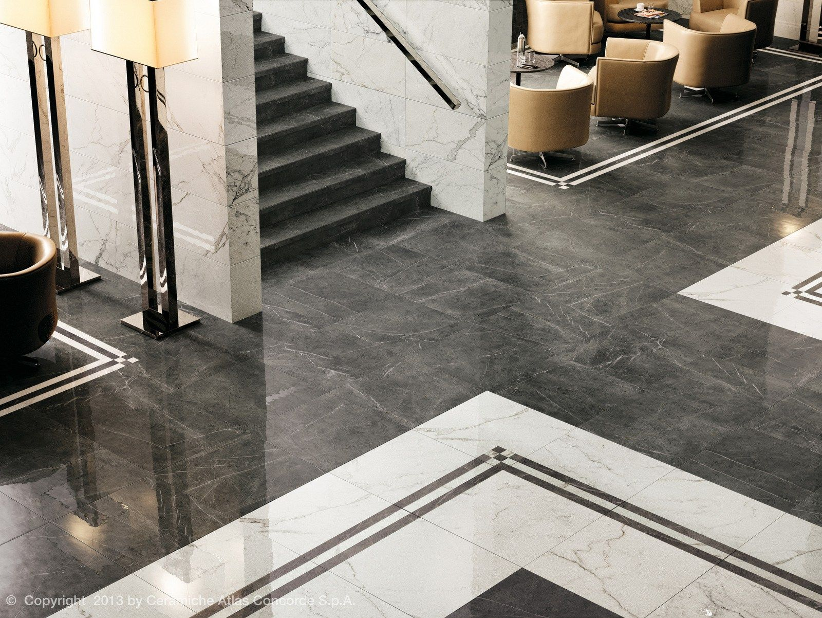 Porcelain Stoneware Flooring With Marble Effect Marvel Floor