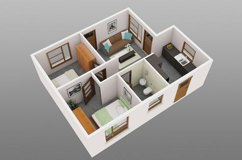 Planos de departamentos de dos dormitorios seleccin de 50 diseos