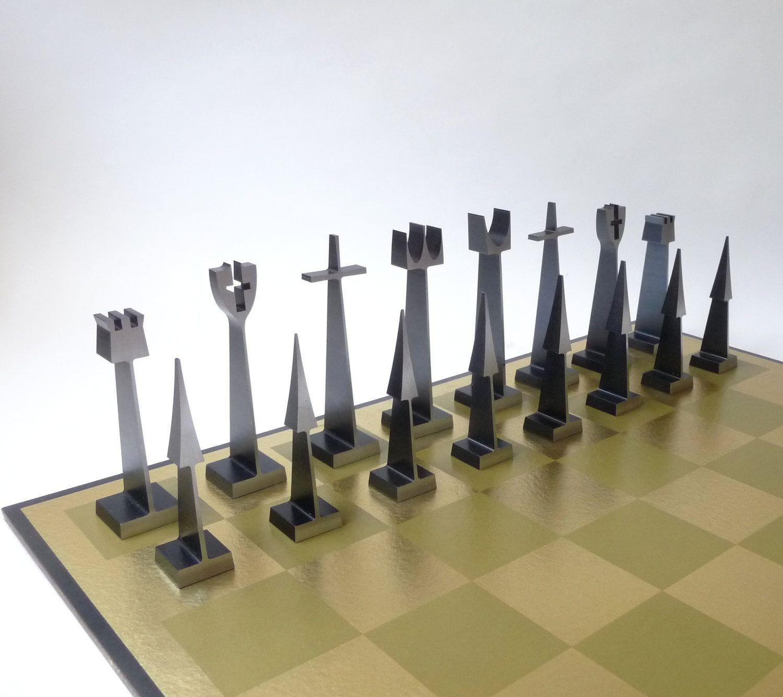 Modern Austin Alcoa Aluminum Chess Set Chess Chess Sets