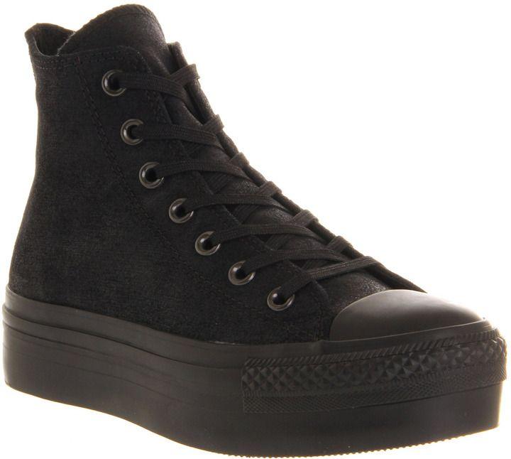 d56fbcf7c74 Converse Hi Platform Black Satin - Hers Trainers on shopstyle.co.uk ...