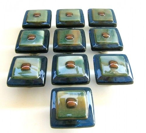 Unique fused glass cabinet hardware knobs in green and slate blue ...