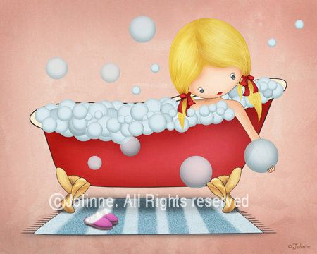 Disegno Bagno Per Bambini : Girls bathroom wall art kids bath art print children di jolinne